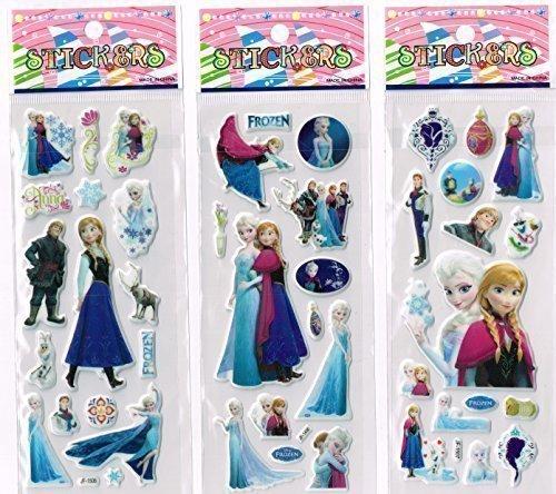 3 Fogli Di Adesivi Di Frozen E Di Elsa Perfetti Per Le Borse Regalo