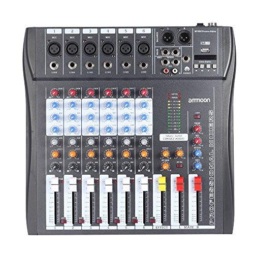 ammoon 60S-USB 6 Canales Mic Mesa de Mezclas Mezclador de Audio 3 Bandas de Ecualización XLR USB Entrada 48V Phantom Power con Adaptador de Energía
