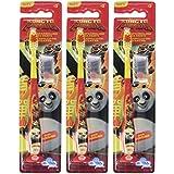 Mr White Jr-Juego de 3 cepillos de dientes (con tapa de protección, diseño de Kung Fu Panda)