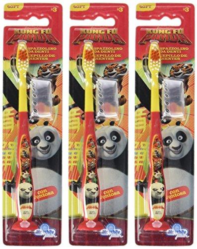 Mr White Jr Brosse à Dents avec Capuchon de Protection Motif Kung Fu Panda - Lot de 3