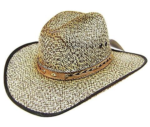 Modestone 50X Taditional Bangora Rodeo Straw Chapeaux Cowboy Fabric Edge Beige