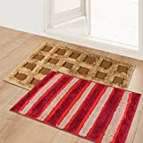 """Story@Home Designer Fancy Super Soft Water Absorbent Abstract 2 Piece Cotton Blend Door Mat Set - 16""""x24"""", Maroon and Brown"""