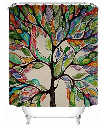 Duschvorhang 3D Creative Baum Polyester Bad Duschvorhang Wasserdicht und Mildewproof Dressing Vorhang mit Haken (Farbe: C, Größe: 200 * 180 cm).