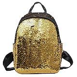 HCFKJ Schultasche, Mode Mädchen Pailletten Schultasche Rucksack Schulranzen Reise Umhängetasche (Gold)