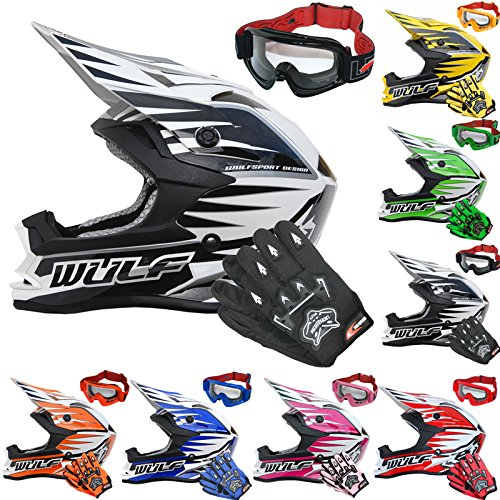 Wulfsport Kids Advance Motocross Moto Casco Off Road Quad Bike Omologato  ECE2205 + Guanti per bambini + occhiali per bambini  38f236c92fe1