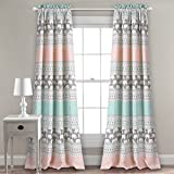 "Lush Decor Window Curtain Panel Pair, Turquoise and Pink, 84"" x 52"" +"