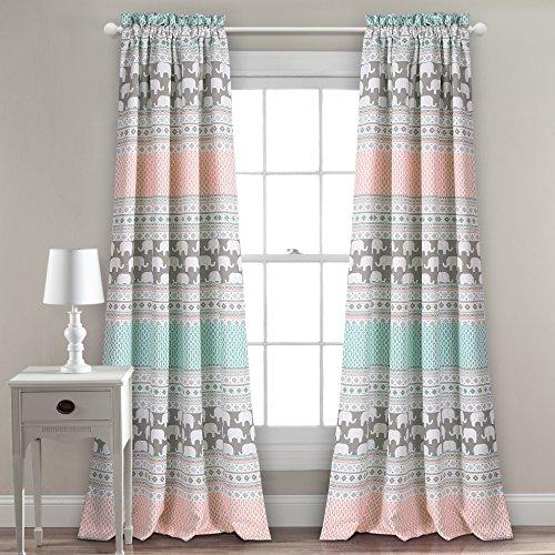 Lush Decor Fenster Vorhang-Paar, türkis und pink, 213,4x 132,1cm + 5,1cm Header