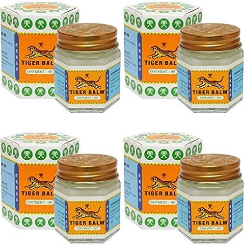 4 Jars of Tiger Balm White Ointment 30g/Jar (Large