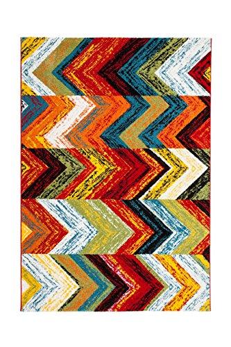 Teppich Wohnzimmer Carpet Geometrie Design Castara 249 Rug Zick-Zack Muster Polypropylen 200x290 cm Mehrfarbig/Teppiche günstig online kaufen