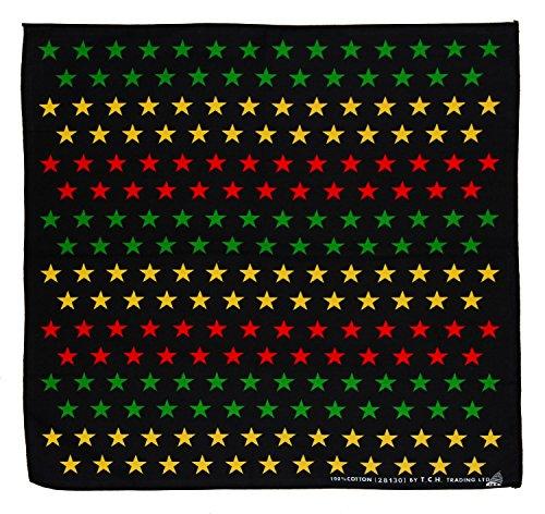 Schwarz Gelb Rot Grün Sterne Stern Star Kopftuch Bandana Halstuch