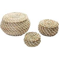 Hemoton 3 Pièces Panier Tissé Jonc de Mer en Osier Rotin Paniers de Rangement Boîte Rondes Paniers de Pique-Nique…