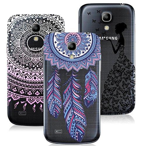 Samsung Galaxy S4 Mini Hülle VertTek 3 in 1 Weich Silikon Transparent Handyhülle Durchsichtig Schutzhülle Case Ultradünnen Leichtgewichtt Edui Elegant Malerei Muster Handy Tasche Abdeckung Clear Protective Shell Cover ( Rosa Mandala + Schwarz Mädchen + Blau Dreamcatcher )