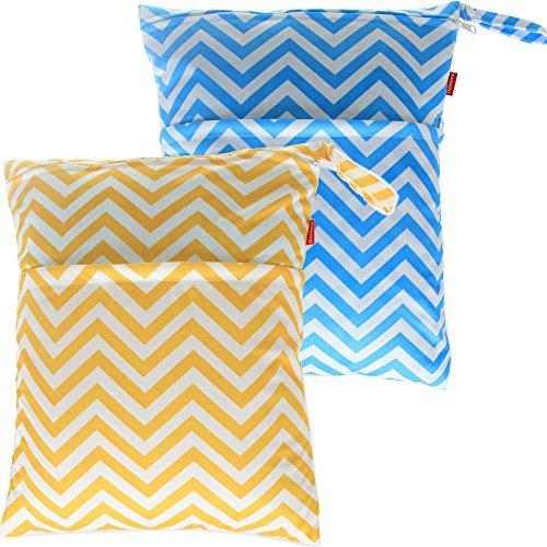 Damero 2pcs pacco Carino bambino di corsa Wet and Dry Cloth Diaper Organizzatore Tote Bag ?Large, Blue Chevron+Yellow Chevron)