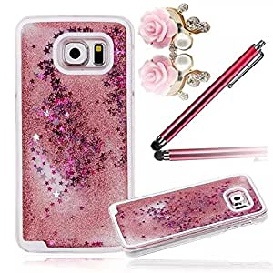 Vandot Dur PC Plastique Transparente Clair Clear Cases Cover Impression de Motif Fantaisie Rose Bling Shiny Brillant Sparkle Protecteur Housse Coque Etui pour Samsung Galaxy S6 + Anti-Staub Cap + Stylet