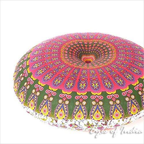 """Eyes of India - 32"""" Grün Boden Meditation Kissen Sitzmöbel-Abdeckung Mandala Überwurf Rund Bunt Dekorativ Unkonventionell Boho Hundebett Indisch Deckel - PINK-Green #1, 32 in. (80 cm) Diameter"""