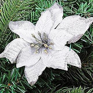 asdomo 10 Anhänger Weihnachtsbaum Dekoration 13 cm Glitzer bunt Blumen mit-Beflockung für Weihnachtsschmuck WEIHNACHTS Hochzeit Party Dekore, Seide, weiß, 10*13cm