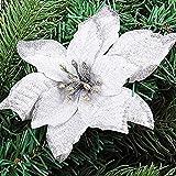 Asdomo, decorazione da appendere, per albero di Natale, a forma di fiore colorato, con glitter, con floccato per ornamenti di Natale e feste di nozze, 10 pezzi, Seta, White, 10*13cm