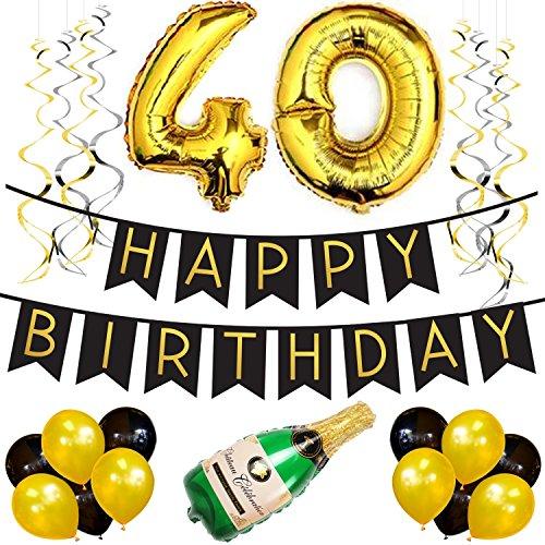 irlande – Schwarz & Gold Deko Geburtstag, Luftballons, Pom Poms und Spiralgirlande Silber – Party Zubehör (Dr. Suess, Geburtstag Dekorationen)