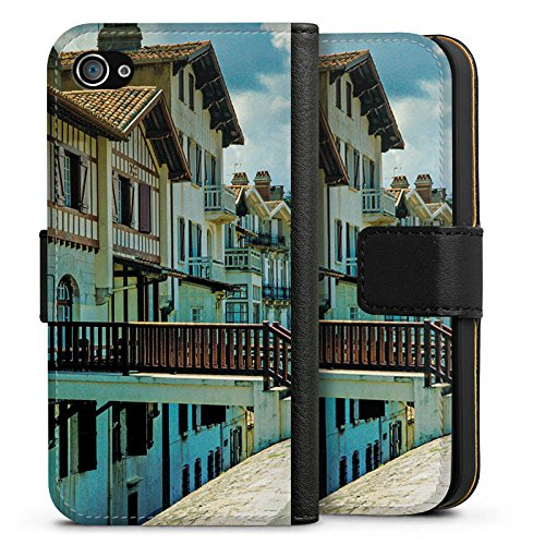 Apple iPhone X Silikon Hülle Case Schutzhülle Fachwerkhäuser Gebäude Brücke Sideflip Tasche schwarz