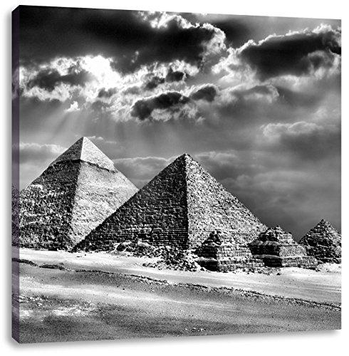 Pixxprint Monocrome, Pyramiden von Gizeh im Sonnenlicht, Format: 60x60 auf Leinwand - Sonnenlicht Köln