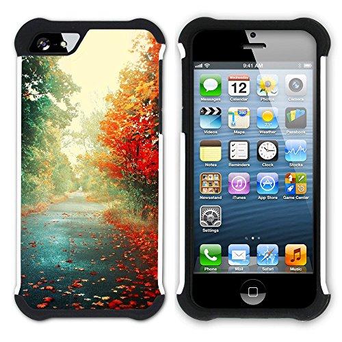 Graphic4You Herbst Leaves Bäume Postkarte Hart + Weiche Kratzfeste Hülle Case Schale Tasche Schutzhülle für Apple iPhone SE / 5 / 5S Design #19