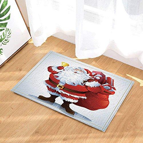 (CHENGLVV Weihnachtsschmuck, Weihnachtsmann & Geschenktüten Badteppich Für Kinder, Rutschfeste Fußmatte Bodeneintritt Für Die Vordere Tür Der Innenausstattung, Badmatte Für Kinder, 40x60CM, Badzubehör)