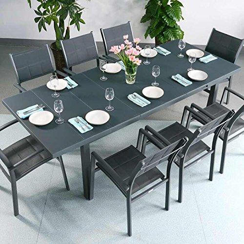Beatrice Tisch mit 8 Milly Stühlen - GRAU | großer ausziehbarer Esstisch 240cm (Ausziehbarer Esstisch Stühle)