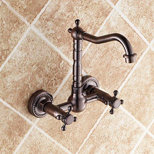 jiuzhuo stile tradizionale doppia croce maniglie a schermo piatto girevole rubinetto da lavabo bagno con collo Oil Rubbed Bronze