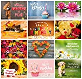 Geburtstagskarten (Set 1): 24-er Postkarten Set mit Herz & Humor - 12 Motive mit je 2 Glückwunschkarten von EDITION COLIBRI © (10834 -845)