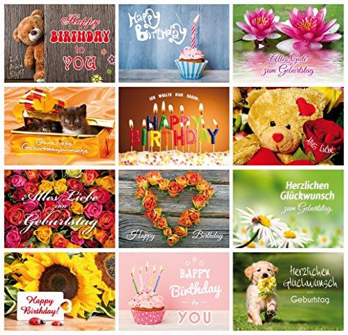 Geburtstagskarten (Set 3): 24-er Postkarten Set mit Herz & Humor – alles verschiedene Motive von EDITION COLIBRI © (10834-860)