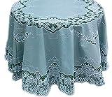 Tischdecken ABWASCHBAR Spitzendecke Rund 150 cm abwaschbar Gartendecke Grün Weiß Vinyl Spitzenoptik Gartentischdecke Balkon Terrasse Küchendecke Camping (150 cm, Grün große Blüten)