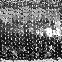 90 Meter langes, farbiges Paillettenband auf einer Rolle aufgewickelt - 6 mm breites Bortenband - Glänzende Paillettenbänder für Bastelprojekte, Tanzbekleidungen uvm. (Silber)