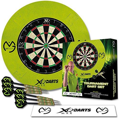 Dart Turnier Set MVG mit Surround grün - Dartscheibe Michael van Gerwen - Wurflinie - Surround Ring - Steeldarts