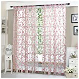 Rcool Flower Sheer Curtain Tulle Window Treatment Voile Drape Valance Panel Fabric Curtain Home Living Room Bedroom Window Decor Curtain (Pink)