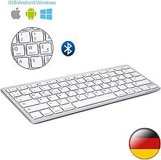 D DINGRICH Wireless Bluetooth Tastatur (QWERTZ), Ultra Dünn Wireless Bluetooth Tastatur für Allen IOS, iPad, Android, Mac und Windows Geräten…