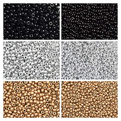 6x20 Gramm Tschechische Runde Glasperlen, Rocailles 9/0 und 11/0, DREI Farben. Set 3CSB 012 (9SB001 9SB106 9SB107 11SB049 11SB124 11SB125) -