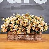 Jnseaol Künstliche Blumen Aus Seide Plastik Seidenblume Blumenschmuck Holz Topf Braut Hochzeitsblumenstrauß Für Haus Garten Party Geschenk Zum Valentinstag Geburtstag Champagner Stieg