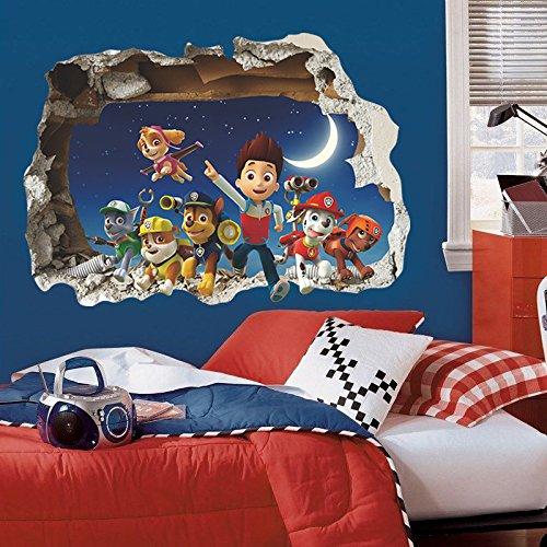 Pegatina de pared vinilo adhesivo efecto 3D decorativo para cuartos, salon,cuarto de juegos,dormitorio,cocina,sala de estar ...patrulla canina de OPEN