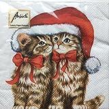 Ambiente - Servietten - Dressed Kitten - Weihnachten / Katzen / Mütze