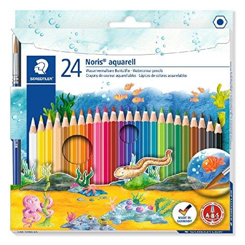 Staedtler lápices de colores acurelables Noris aquearell,  ABS: alta resistencia a las roturas, forma clásica hexagonal, pack de 24 lápices de colores de madera en colores surtidos y 1 pincel Staedtler, 144 10NC24