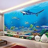 Chlwx 3d tapete 300cmX200cm (118.1inX78.178in) 3D Wandbild 3D-Room-Wallpaper 3D Naturgetreue Tier Ozean Hai Fototapete Für Wände 3D-Papier Tapeten