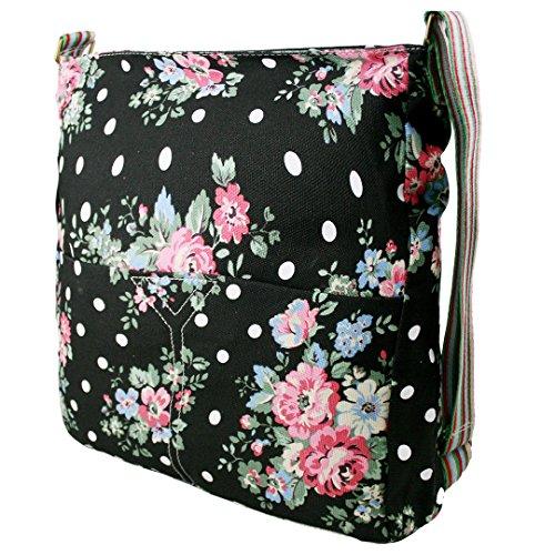 Miss Lulu Damen Leinwand Tasche Schultertasche Cross Body Messenger Bag Tupfendruck Elefant Katzen Eule Blumen Gepunktet Schmetterling Schulranzen Satchel Blumen Schwarz