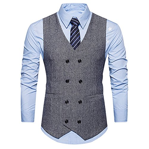 SEWORLD Herren Herbst Winter Sport Charm Herren Casual Slim Fit Beiläufige Warme Stand Formal Tweed Check Zweireihige Weste Retro Anzugjacke(Grau,EU-48/CN-L)