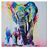 Wandbild Mehrfarbige Elefanten aus Leinwand Canvas Wasserfestes Bild Kunstdruck 60x60 cm