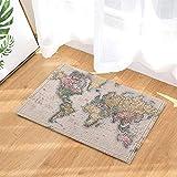 fdswdfg221 Wanderlust Dekor Vintage Hand farbige Weltkarte im Jahr 1860 für Bildung Badteppiche Rutschfeste Fußmatte Bodeneingänge Indoor Haustürmatte Kinder Badmatte Bad-Accessoires