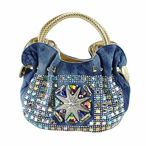 WanJiaMen'Shop Weibliche Baoya Diamond Fashion Lotusblatt Seite Knödel Bag Denim Bag Lady Tasche Gewaschen, 30 * 12 * 21 cm (Denim Womens Gewaschen)