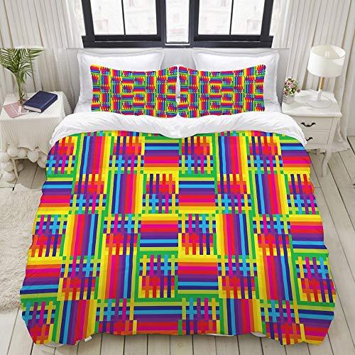 VAMIX Bettwäsche-Set, Mikrofaser,Horizontal and Vertical Short Lines Vibrant Colored Mosaic Striped Pattern,1 Bettbezug 135 x 200cm + 2 Kopfkissenbezug 80x80cm Line Short Set