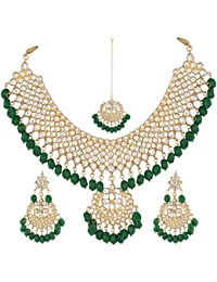 Fab Jewells Gold Plated Kundan Pearl Stylish Fancy Traditional Jewellery Set & Wedding Necklace For Party,Weddings...