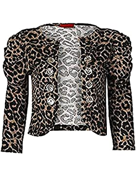 Zara Fashion -Pulsante increspato manica Leopard pulsante Shrug di -Women
