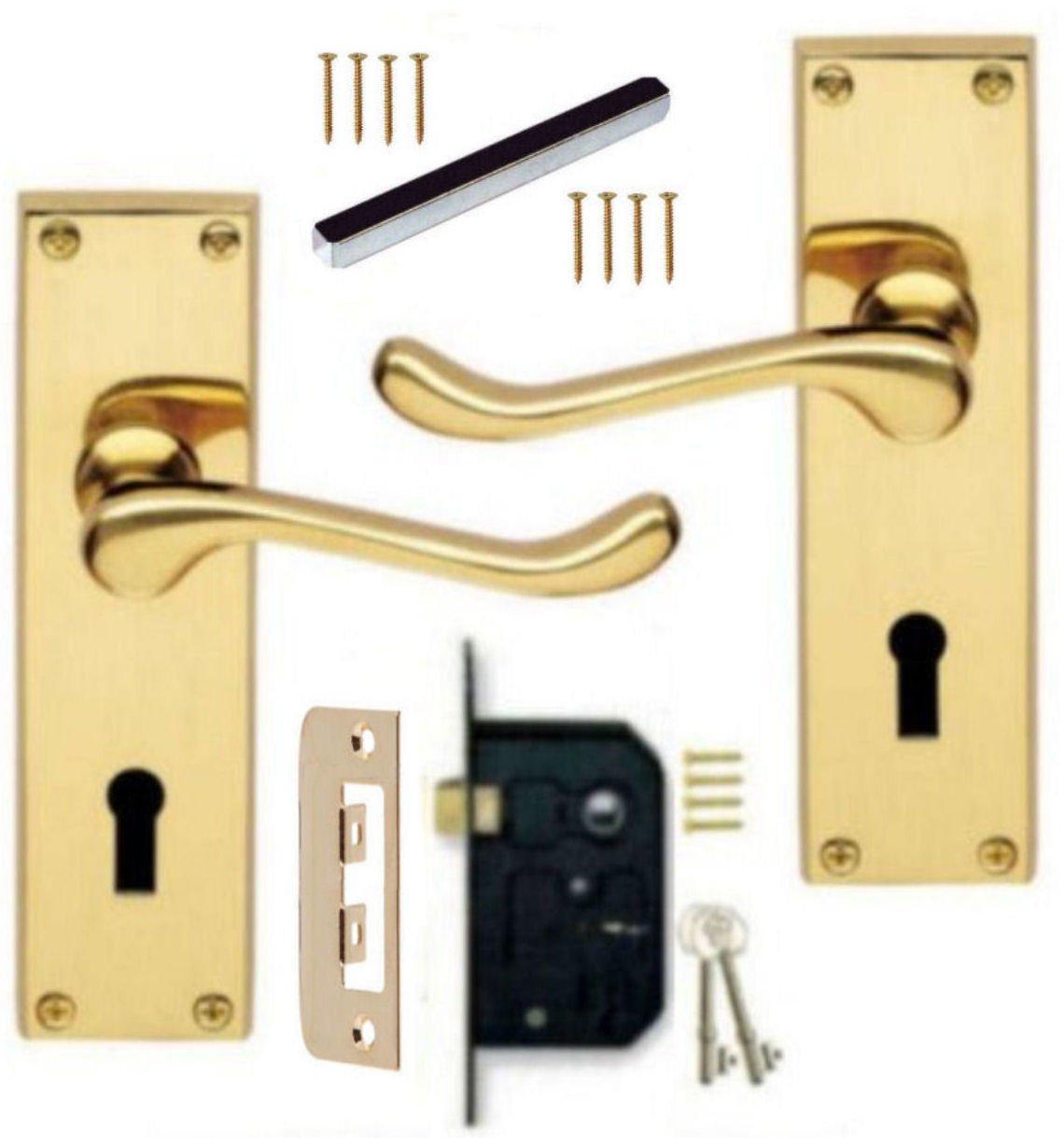Polished Brass Victorian Lever Lock Door Handles Keyed 64mm 3 Lever Lock SET KA